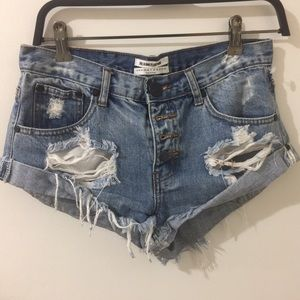 Free people One Teaspoon destroyed denim shorts
